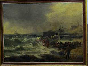 Robert Ernest Roe (1820-1920) Ships at Rescue Oil