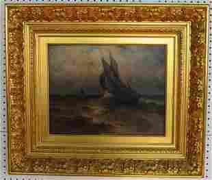 19th Century Marine Painting Oil on Canvas