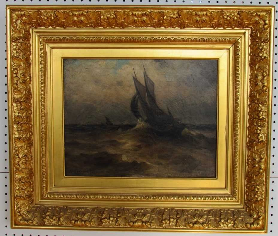 9: 19th Century Marine Painting Oil on Canvas