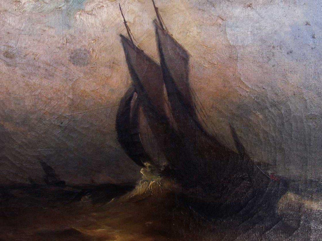 9: 19th Century Marine Painting Oil on Canvas - 2
