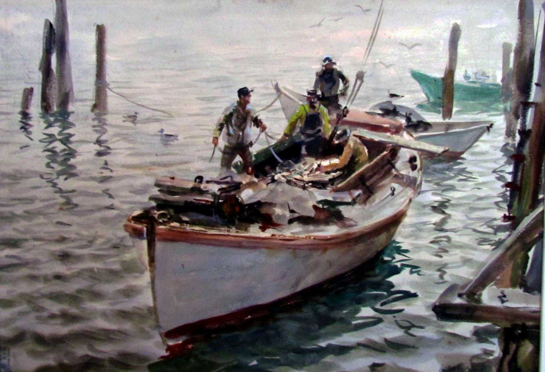 16: John Whorf (1903-1959) Fisherman in Dory Watercolor