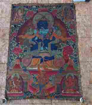 Early 19th Century Tibetan Green Tara Scroll Painti