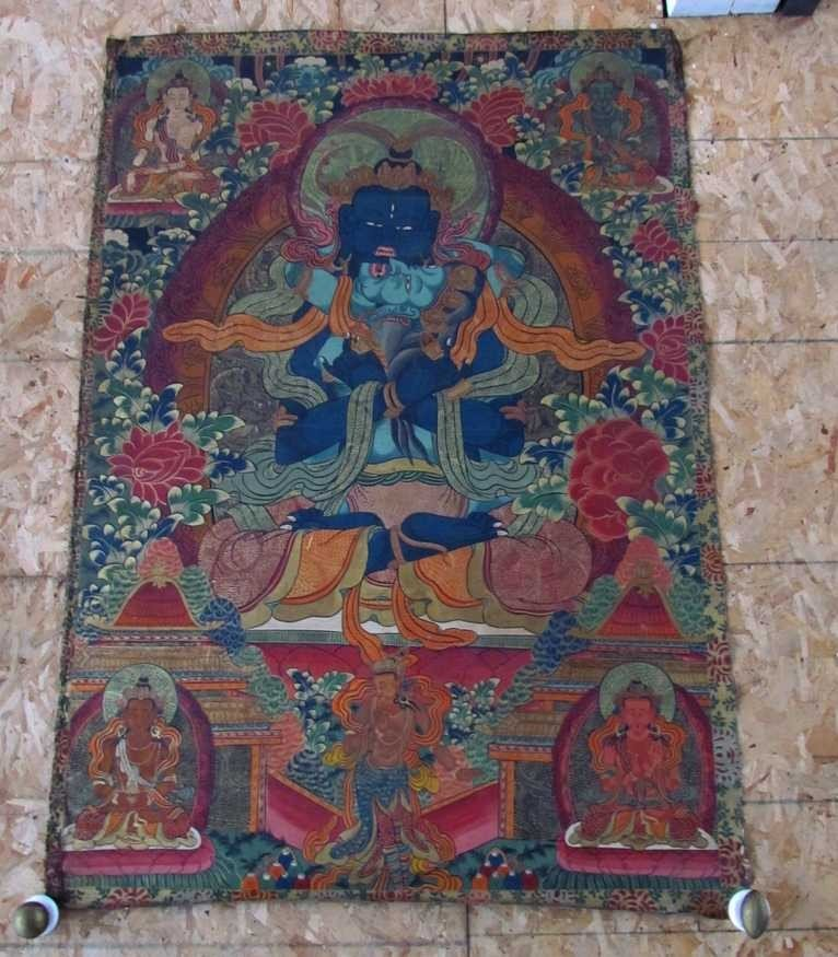 19: Early 19th Century Tibetan Green Tara Scroll Painti