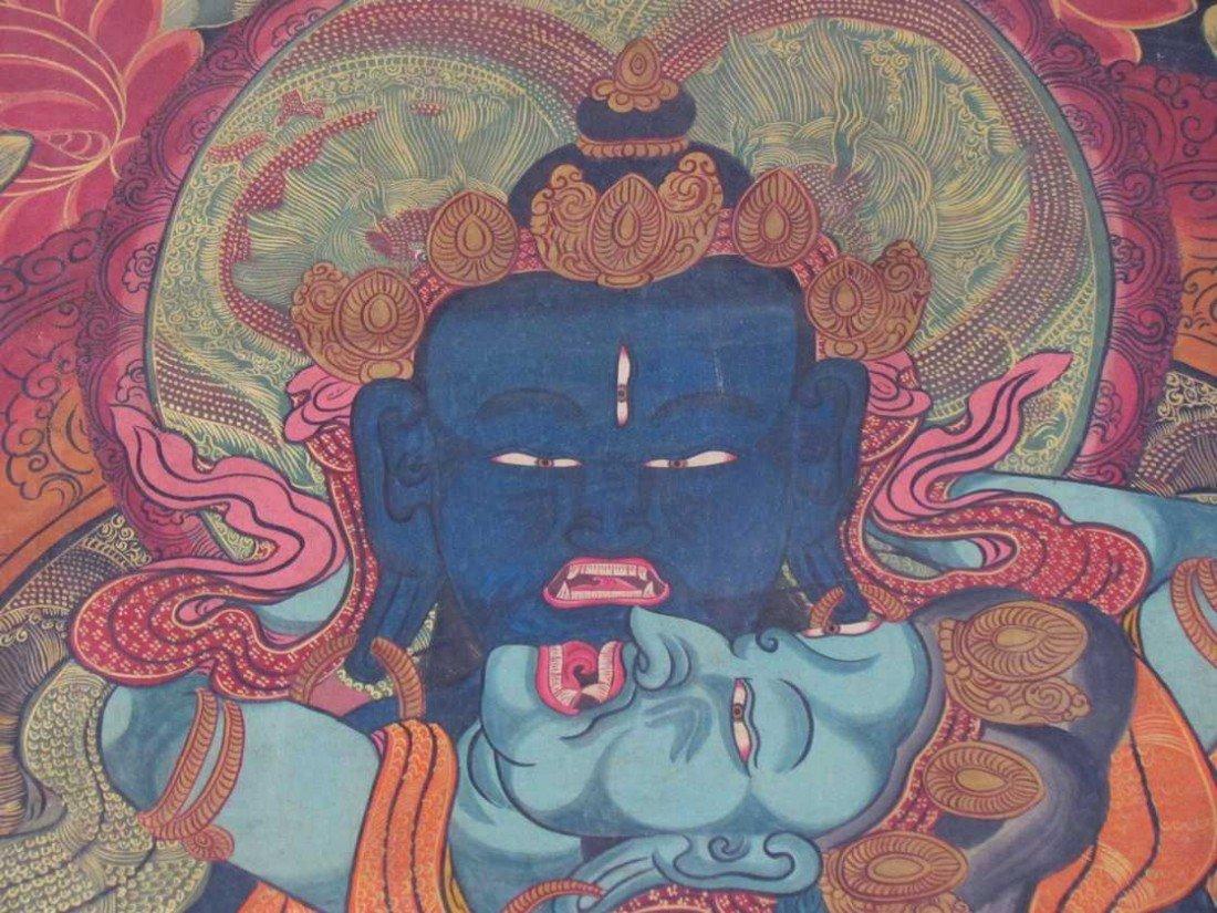 19: Early 19th Century Tibetan Green Tara Scroll Painti - 2