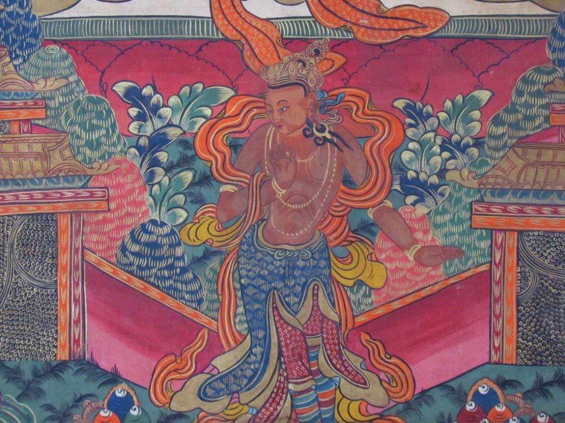 19: Early 19th Century Tibetan Green Tara Scroll Painti - 3