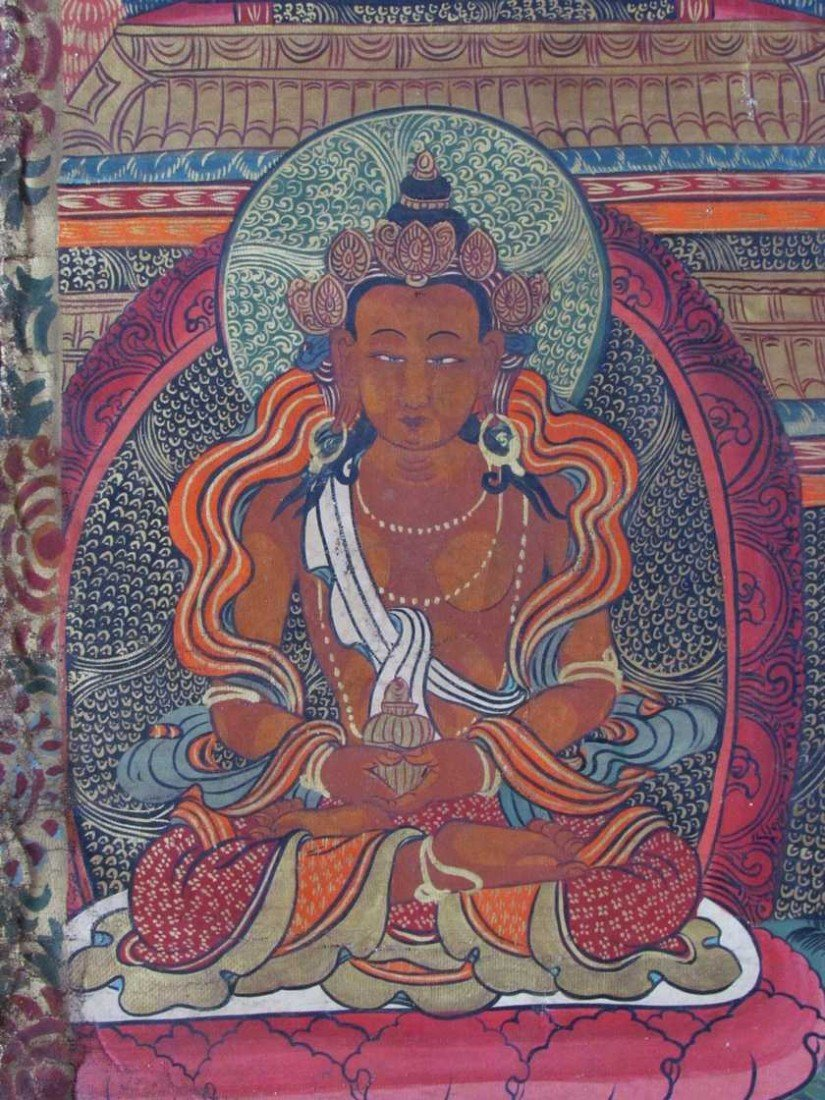 19: Early 19th Century Tibetan Green Tara Scroll Painti - 4