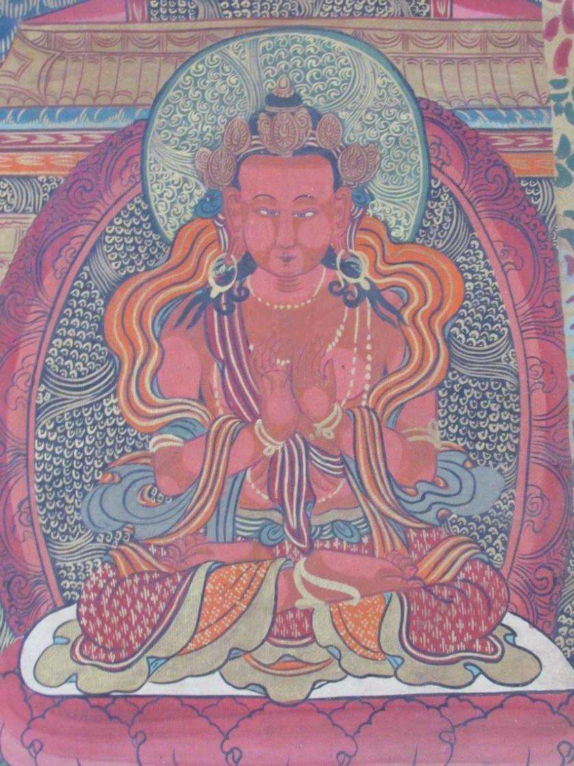 19: Early 19th Century Tibetan Green Tara Scroll Painti - 5