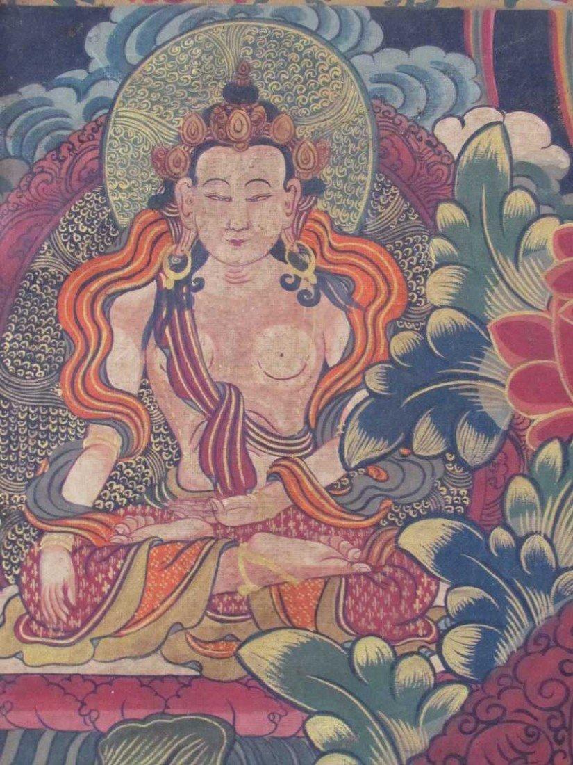 19: Early 19th Century Tibetan Green Tara Scroll Painti - 6