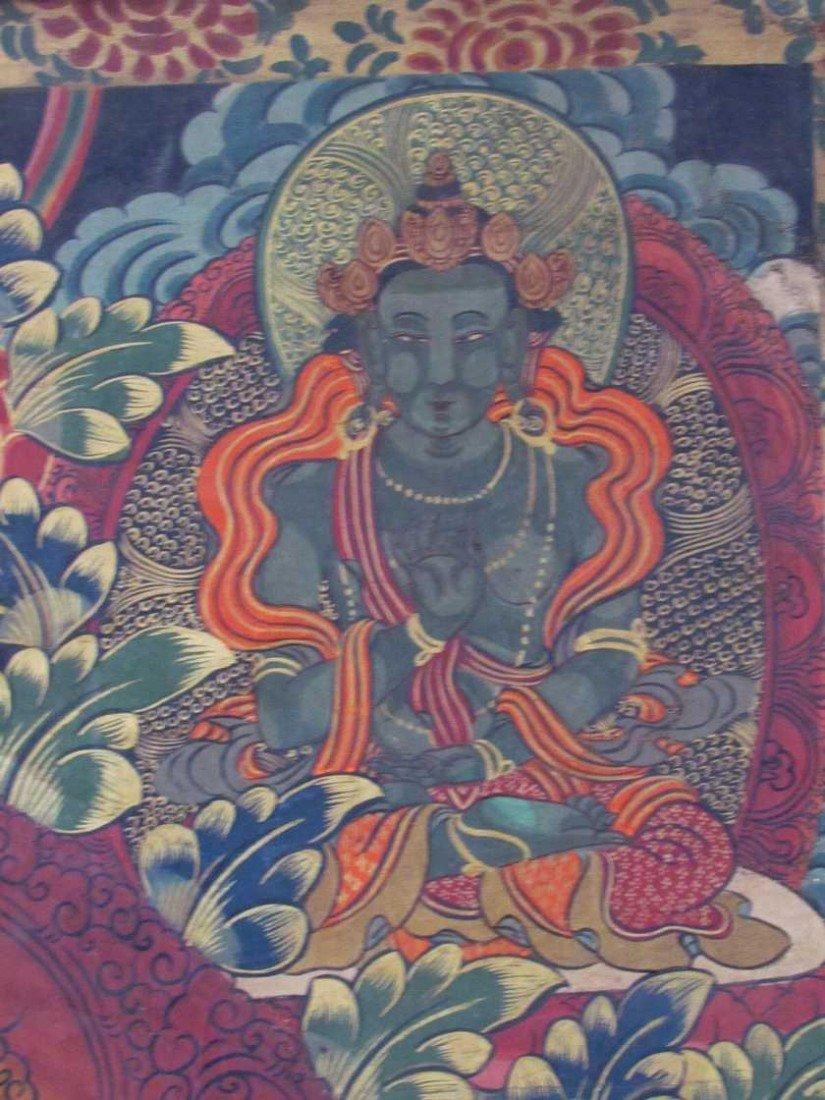 19: Early 19th Century Tibetan Green Tara Scroll Painti - 7