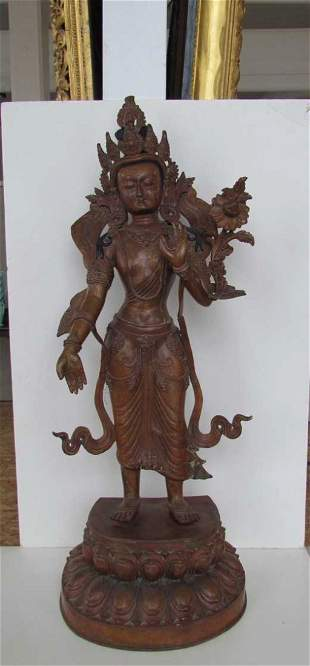 Large Buddhist Deity Bronze Statue