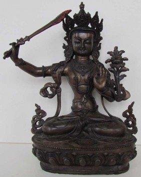 22: Manjushree God of Divine Widsom Bronze Statue