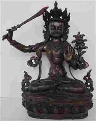 Manjushree God of Divine Widsom Bronze Statue