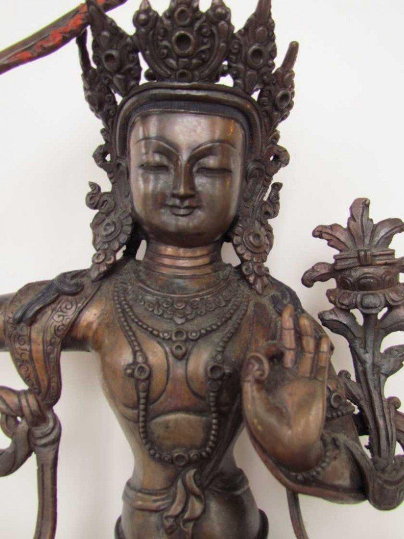 22: Manjushree God of Divine Widsom Bronze Statue - 2