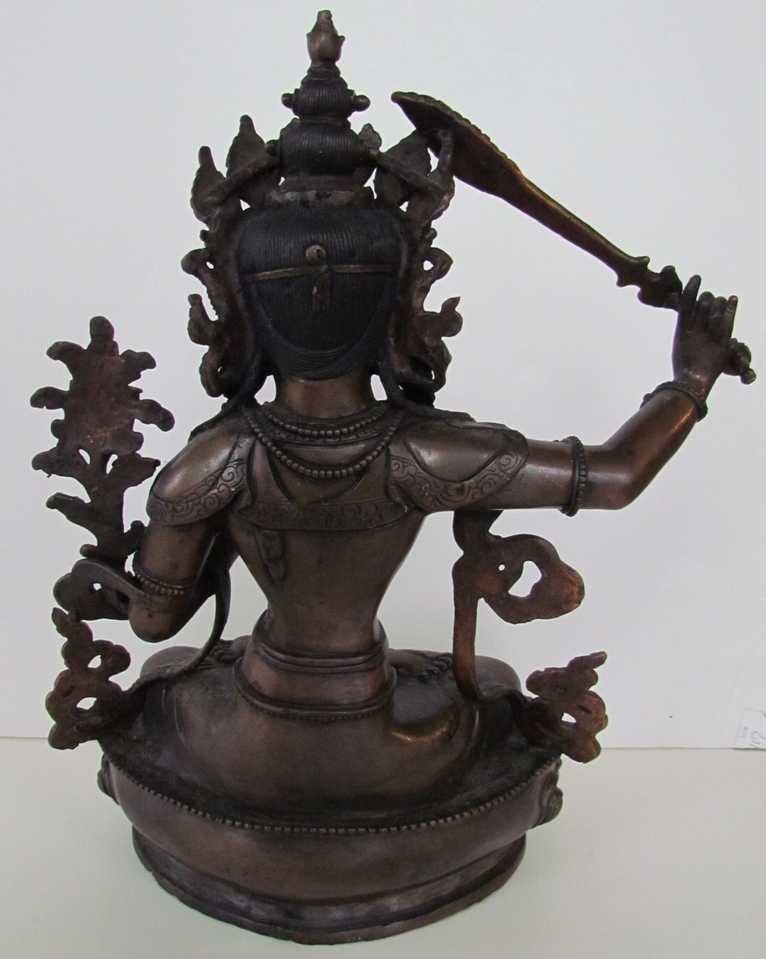 22: Manjushree God of Divine Widsom Bronze Statue - 3