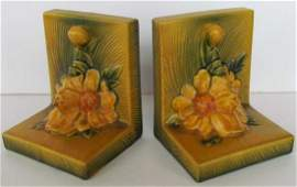 143: Pair Roseville Pottery Peony Bookends