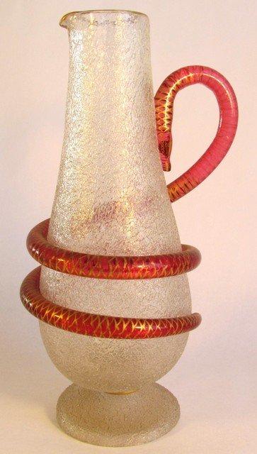 6: Large Art Glass Snake Handle Pitcher