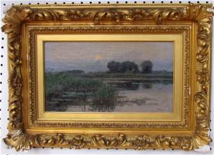 J.N. Barlow (1861-1917) Moonrise Oil on Canvas