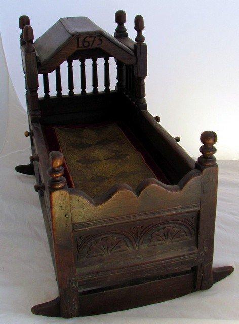 11: 1673  Pilgrim Century Cradle in Oak