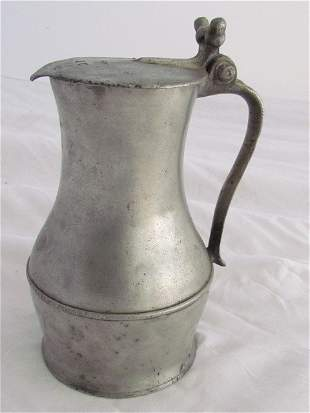 Early English Pewter Covered Pitcher
