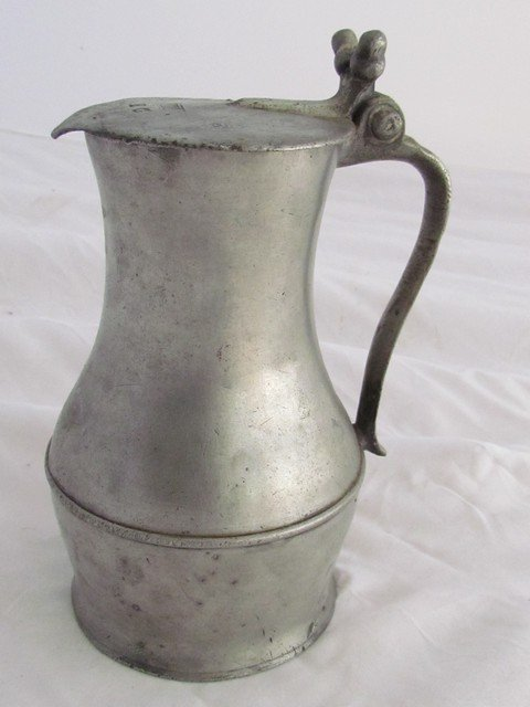 13: Early English Pewter Covered Pitcher