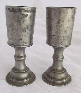 Pair Early 18th Century Pewter Goblets
