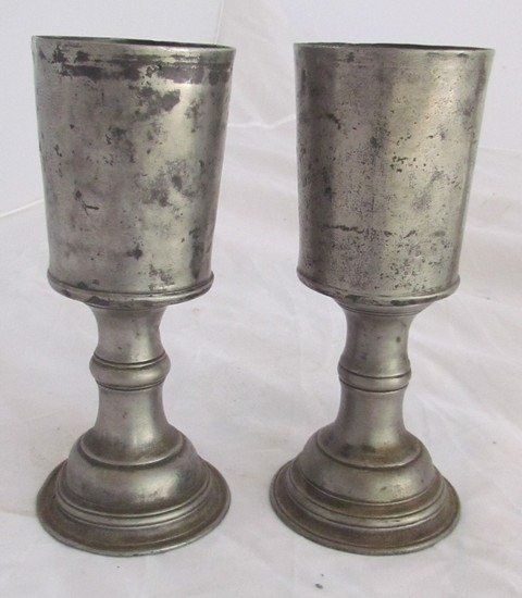 14: Pair Early 18th Century Pewter Goblets