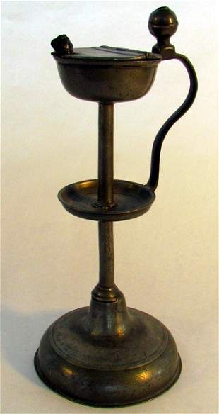 Early American Pewter Lamp