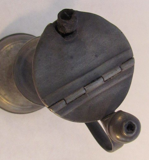 17: Early American Pewter Lamp - 2