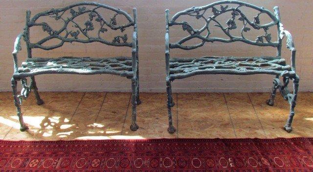 26: Pair 19th Century Cast Iron Benches