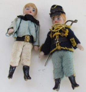 Two Miniature Bisque Dolls