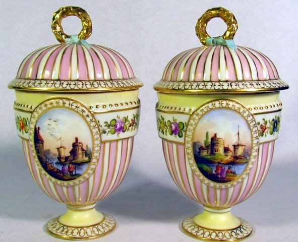 107: Pair Dresden Porcelain Custard Cups and Covers