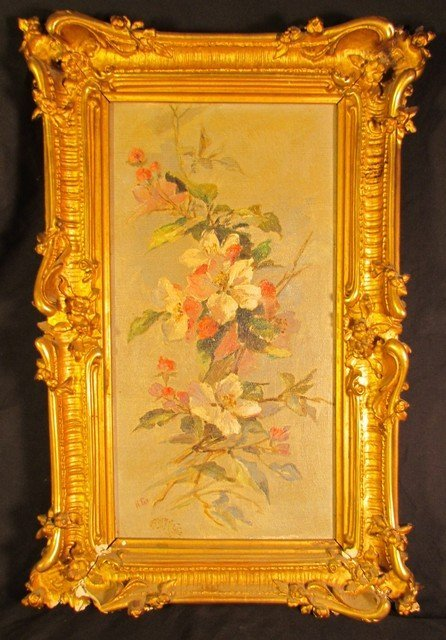 118: Victorian Floral Oil on Canvas