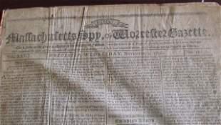 Bound Volume of Masschusetts Spy Newspapers c.1796