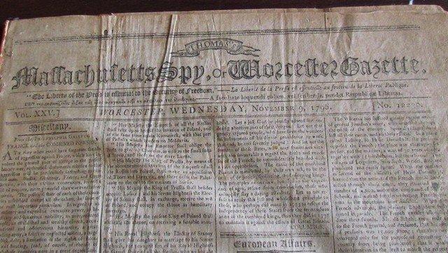 8C: Bound Volume of Masschusetts Spy Newspapers c.1796
