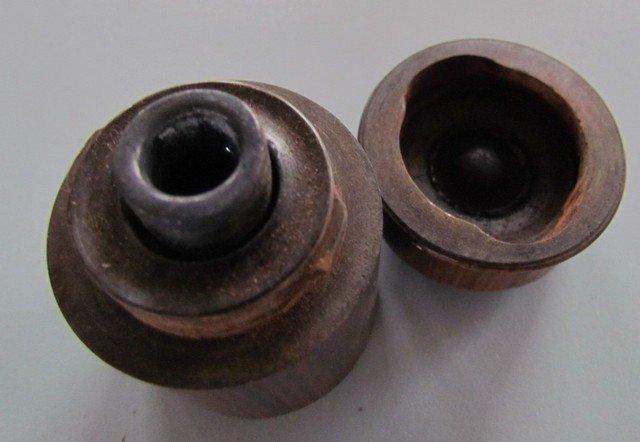 24B: Early Wooden Inkwell Blown Glass Bottle Inside