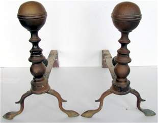 Two Pairs Early American Brass Firedogs