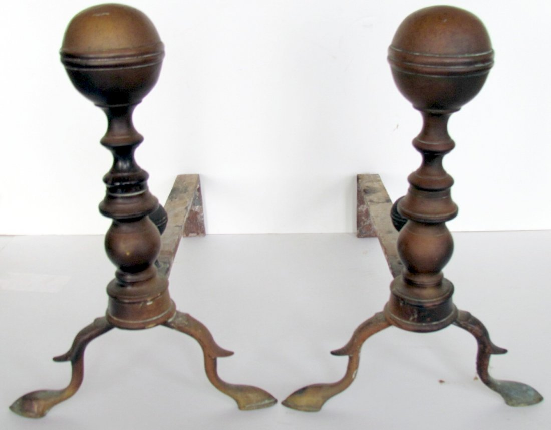 16A: Two Pairs Early American Brass Firedogs