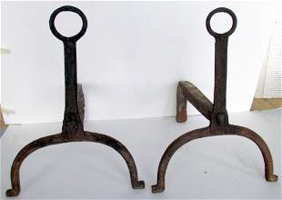 Early American Wrought Iron Firedogs