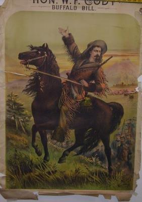 1: Rare Hon. W.F. Cody Buffalo Bill Lithograph Poster