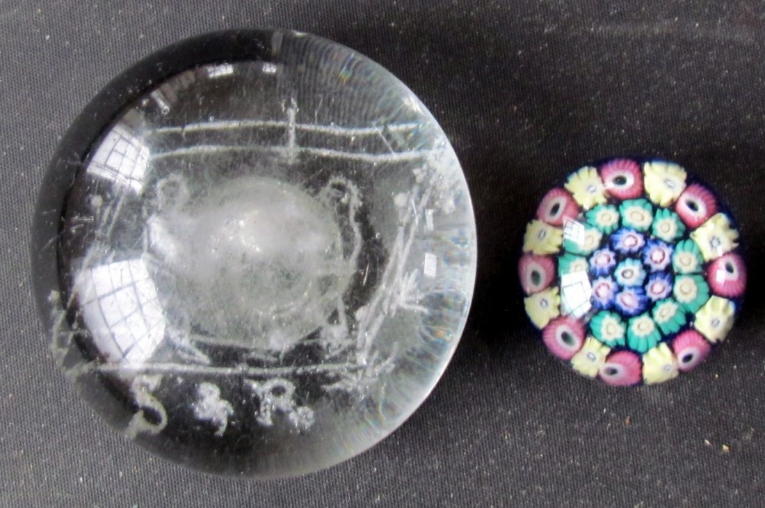 6: Two Paperweights Boxing & Floral