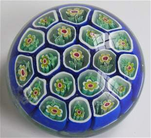 8: Floral Paperweight Blue Ground
