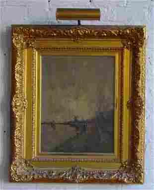 20: 19th Century Landscape Oil on Canvas Windmill in La