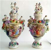 61: Two Large Dresden Urns