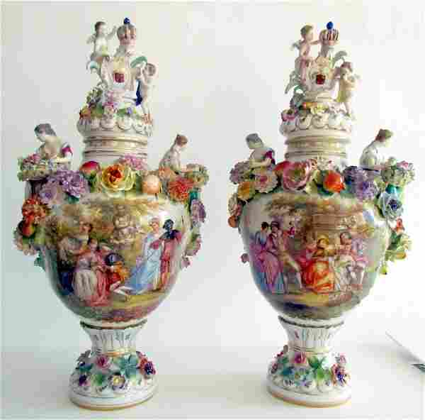 Two Large Dresden Urns