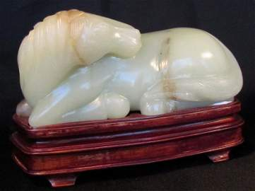 1: Exquisite Large Chinese White Jade Recumbent Horse