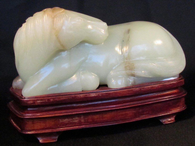 Exquisite Large Chinese White Jade Recumbent Horse