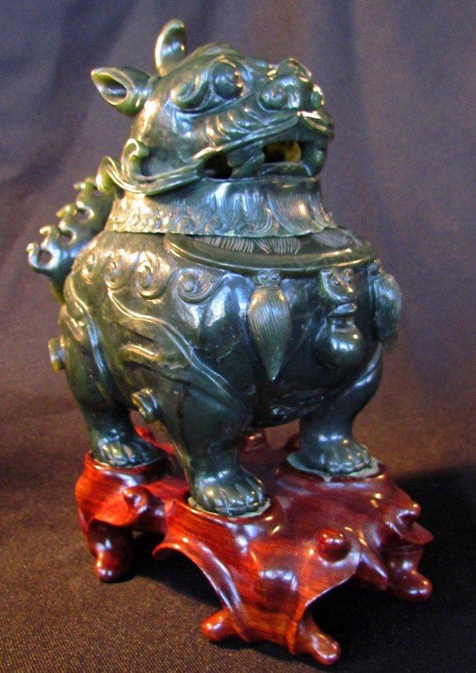 2: Fine Chinese Green Jade Foo Dog Censer