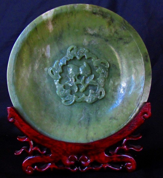 3: Large Chinese Green Translucent Jade Carved Plate