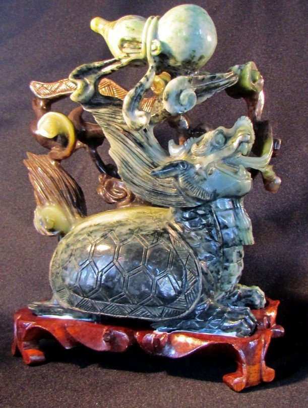 4: Large Chinese Spinach Green Jade Carving
