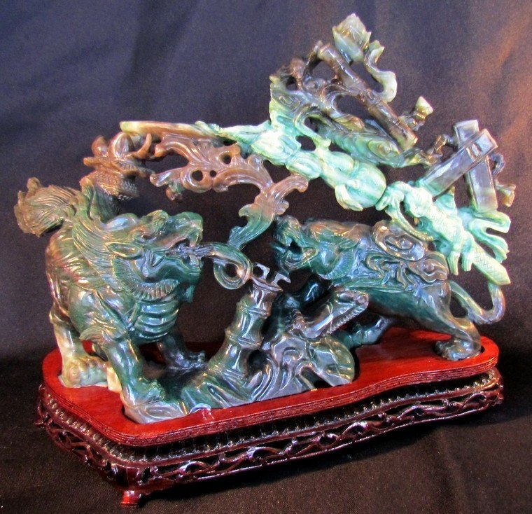 6: Large Chinese Green Jade Carving